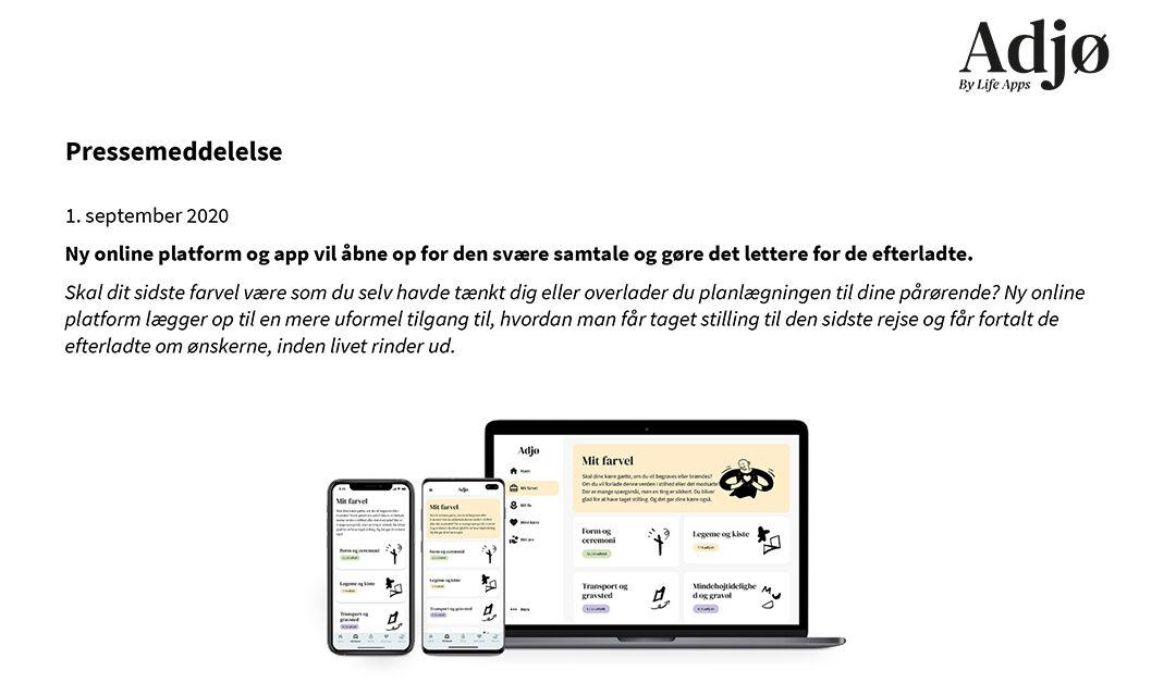 Pressemeddelelse: Ny online platform og app vil åbne op for den svære samtale og gøre det lettere for de efterladte