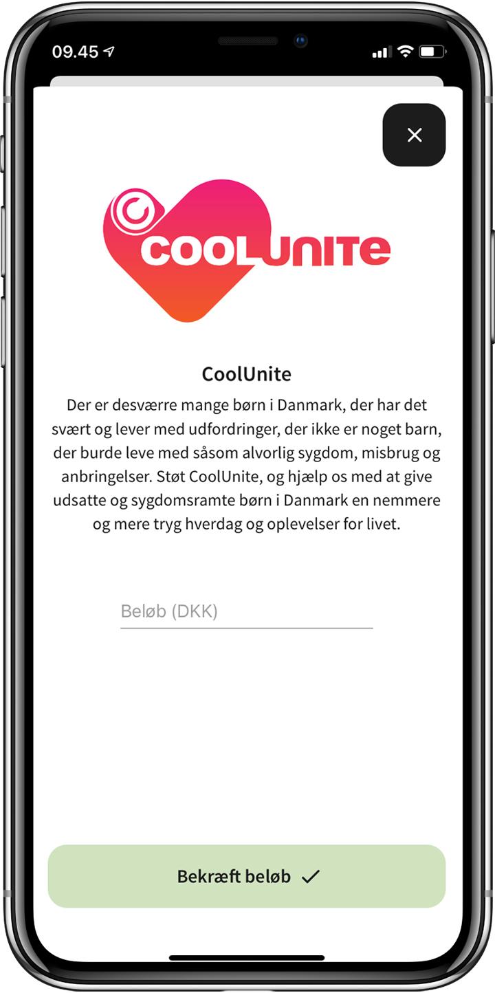 Donation til CoolUnite via Adjø app